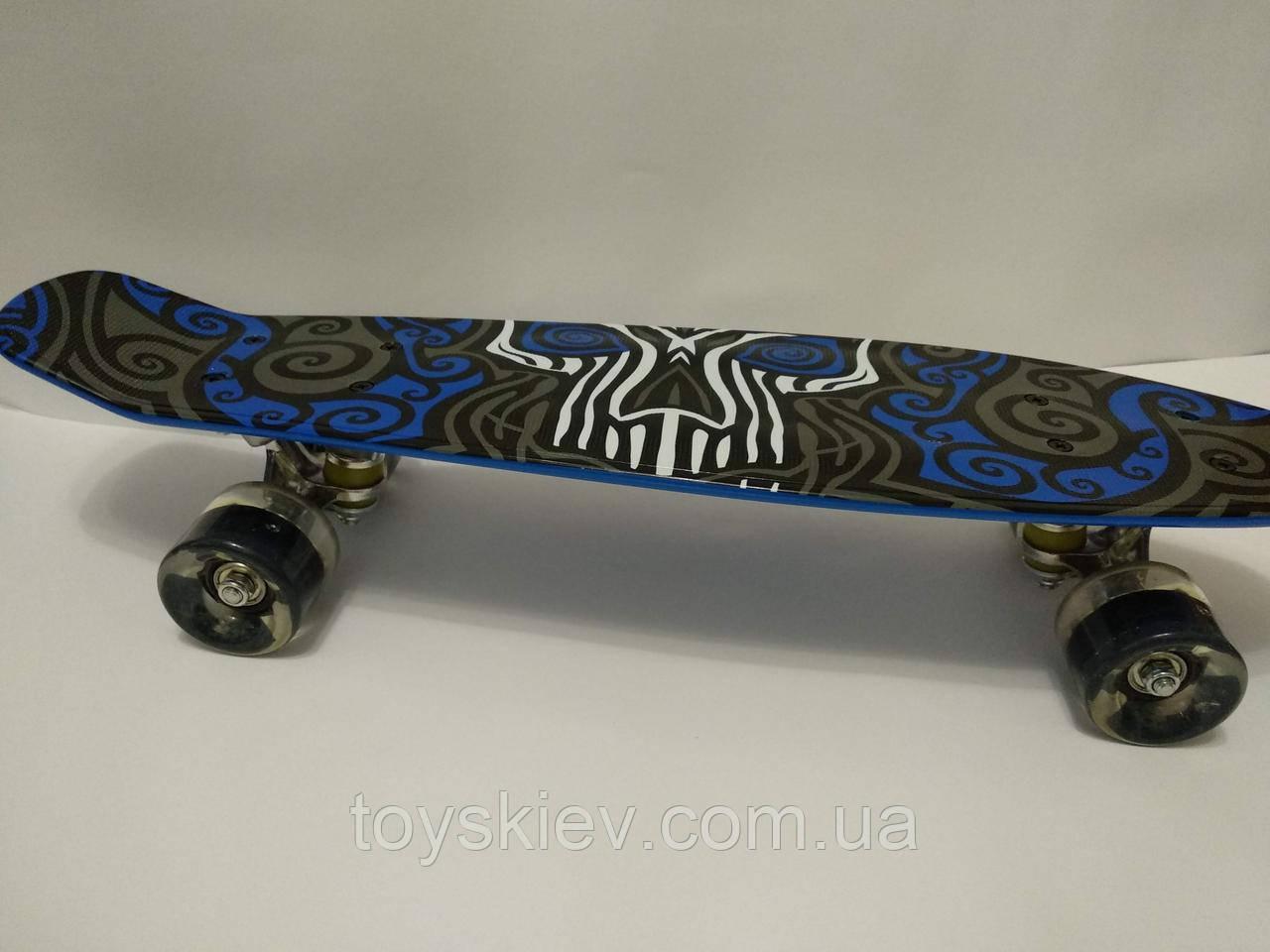 Скейт Пенни борд (Penny board) 820-16 с рисунком, светящийся