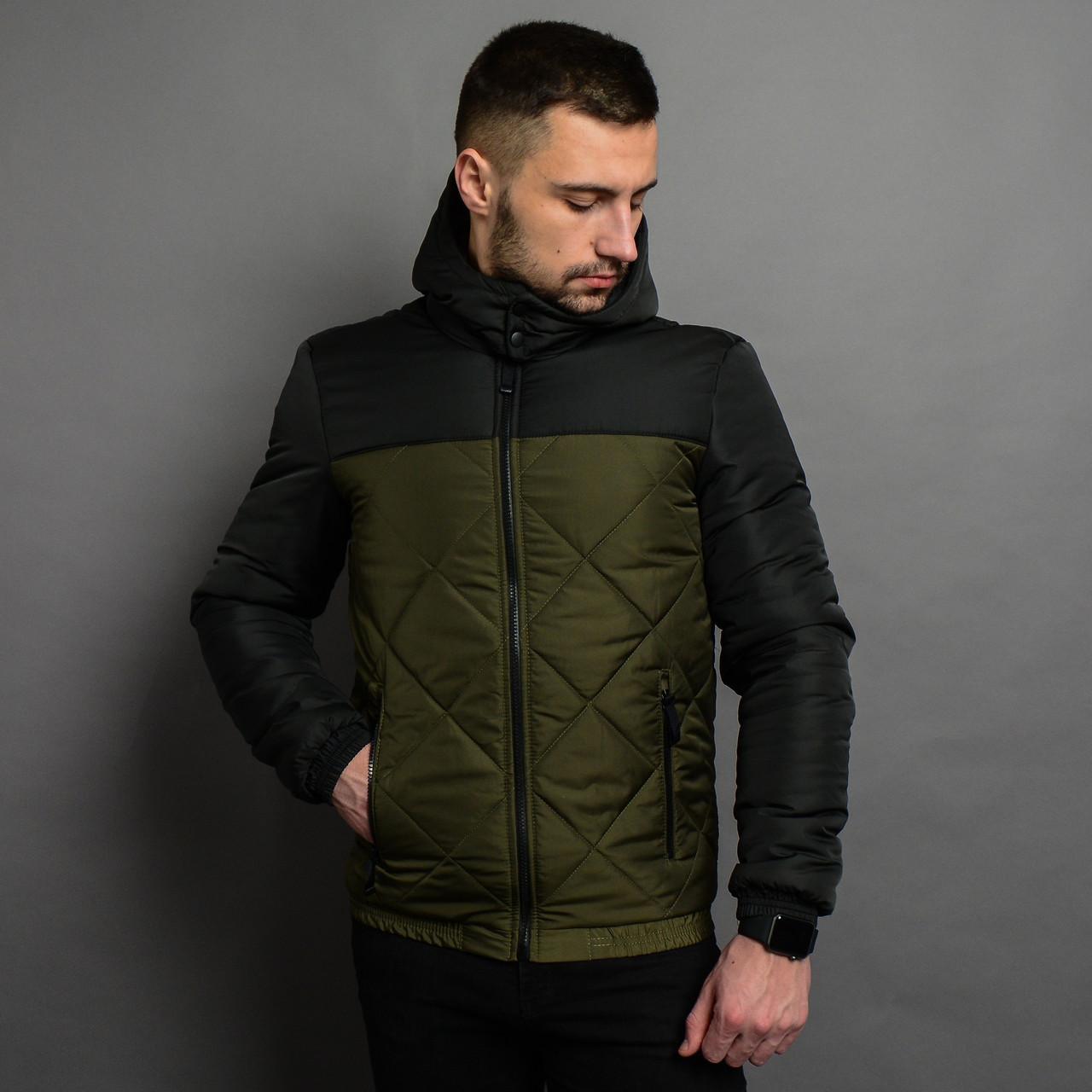 Демисезонная мужская  куртка со съемным капюшоном