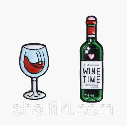 """""""Бокал и вино"""" значок (пин) двойной металлический"""