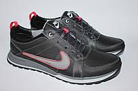 Мужские кожанные кросовки NIKE р-р 40-45 черные, серые, с красными втавками. Кроссовки весна