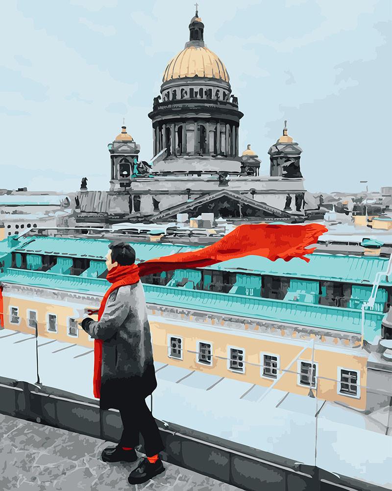 Картина по номерам Красный шарф в путешествии, 40x50 см., Brushme