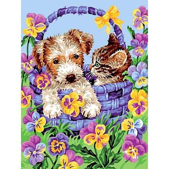 Картина по номерам Корзина дружбы собака и кошка, 30x40 см., Babylon