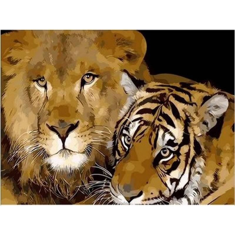 Картина по номерам Лев и тигр, 40x50 см., Mariposa