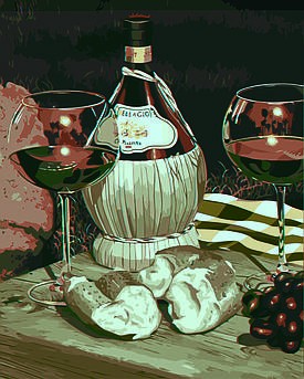 Картина по номерам Натюрморт с Кьянти (Худ. Скотт Якобс), 40x50 см., Домашнее искусство