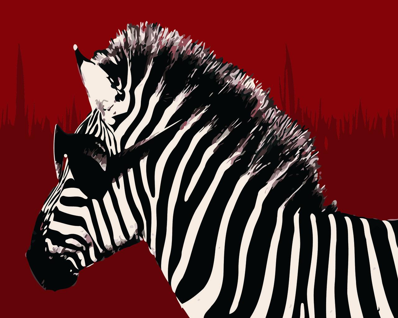 Картина по номерам Зебра хипстер, 40x50 см., Домашнее искусство