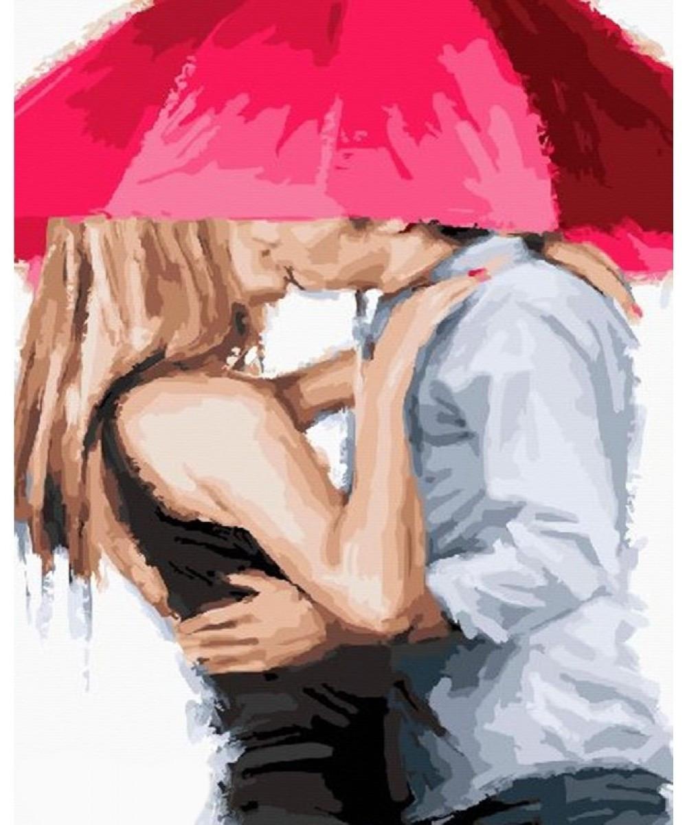 """Картина по номерам """"Он и она под зонтом"""", 40x50 см., Brushme"""