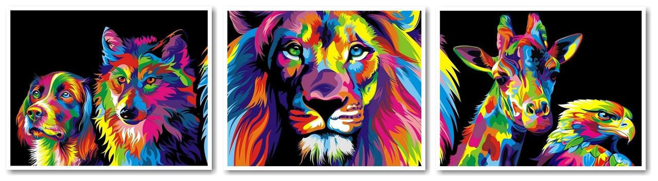 "Картина по номерам ""Радужные животные. Худ. Ваю Ромдони (Триптих)"", 40x150 см., Babylon"