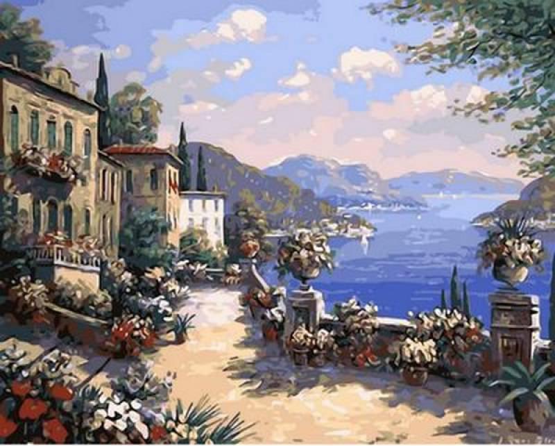 Картина по номерам Итальянская набережная. Худ. Рене Биглер, 40x50 см., Mariposa