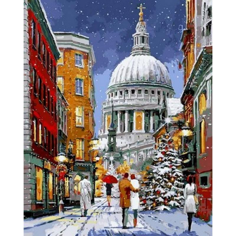 Картина по номерам Кафедральный собор Святого Павла в снегу, 40x50 см Babylon