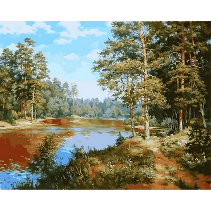 Картина по номерам Лесное озеро. Худ. Сергей Басов, 40x50 см., Babylon