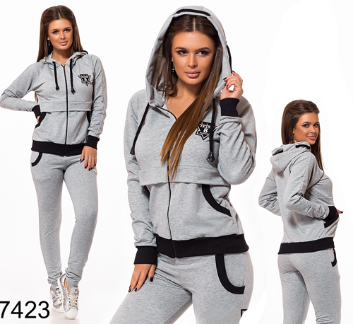 a3b17c33c99 Купить Модный спортивный костюм с карманами (серый) 827423 в Украине ...