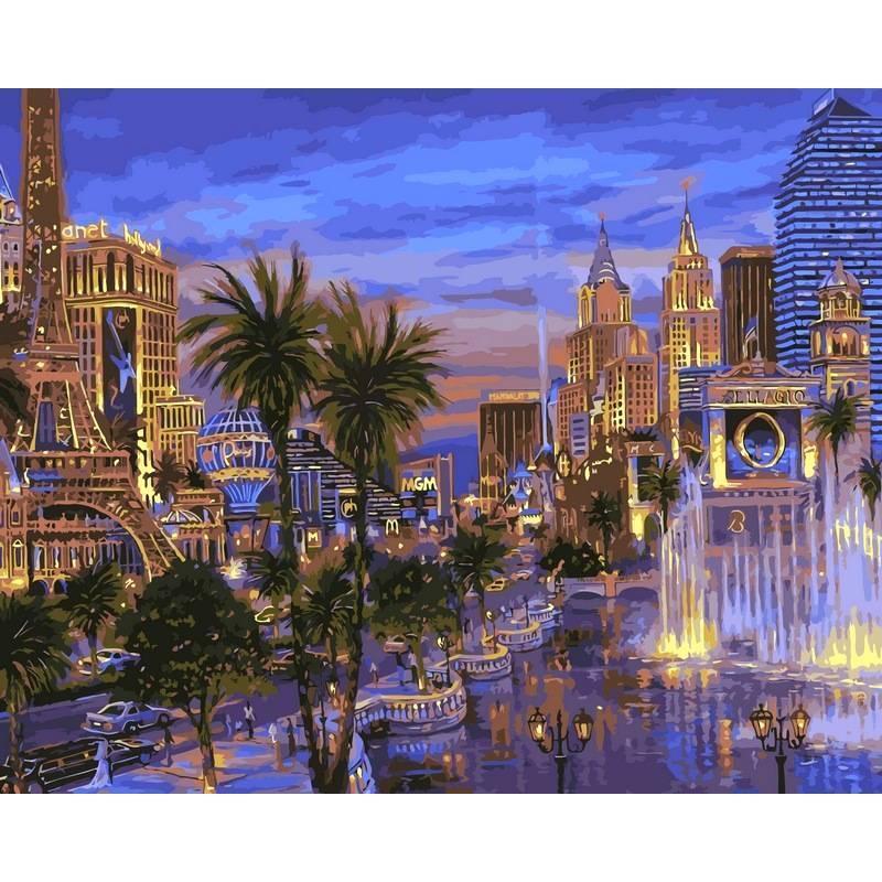 Картина по номерам Вечер в Вегасе. Худ. Роберт Файнэл, 40x50 см., Babylon