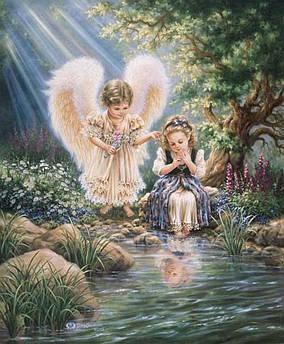 """Алмазная вышивка """"Ангелы у ручья 138"""""""