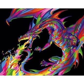Картина по номерам Радужный дракон, 40x50 см., Babylon