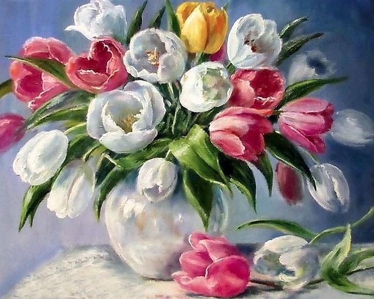 """Алмазная вышивка """"Тюльпаны в вазе 145"""""""