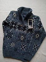 Детский свитер под горло зимний на мальчика фирмы FIVE (снежинки)