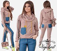 Женский прогулочный костюм трикотаж джинс, фото 1
