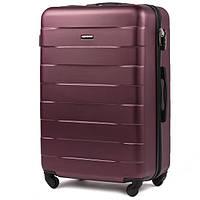 Средний ударостойкий дорожный чемодан на 4 колесах фирма Wings (бордовый)