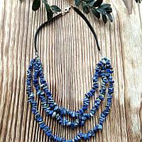 Колье из лазурита(крошка, натуральный камень) на кожаном шнурке ручной работы  Lana Jewelry