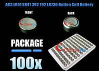 100 х AG3 LR41 SR41 392 192 LR736 литиевая таблетка батарея 1,5 В, фото 1