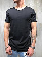 Мужская футболка черная без принтов классическая футболка ЛЮКС КАЧЕСТВО 4 цвета
