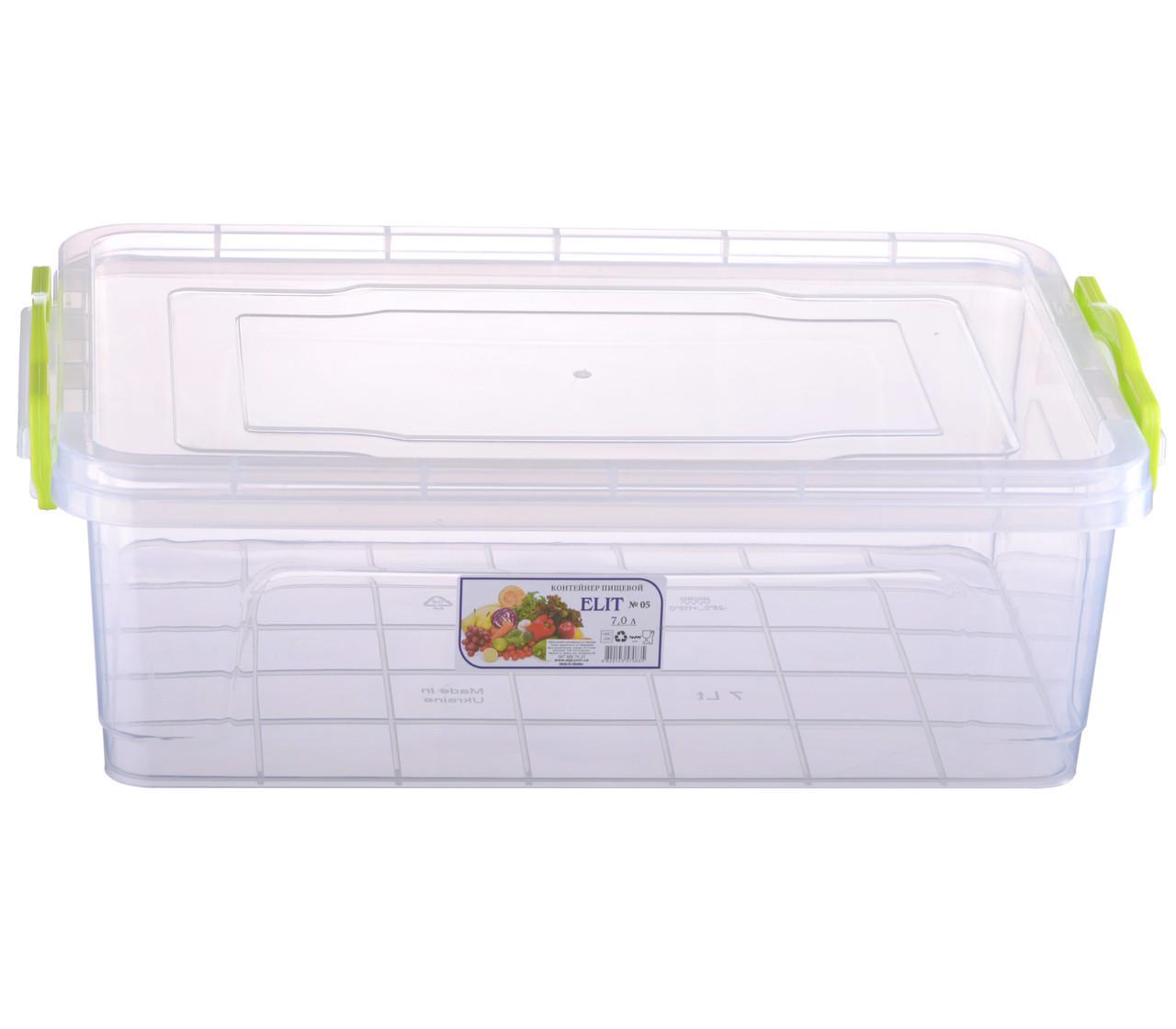 Контейнер пищевой Ал-Пластик Elit 7 л. 375 х 255 х 125 мм. плоский