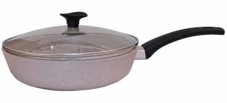 Сковорода Талко Веста 26 см. с крышкой и гранитным покрытием с ободком хром светло серый AA50263, фото 2