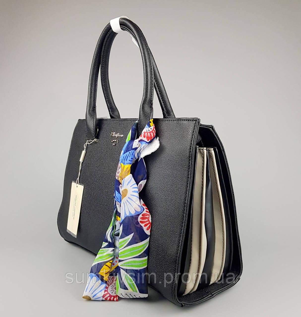 Женская сумка клатч David Jones черная-бежевая