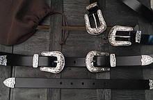 Женский кожаный ремень с двумя пряжками в стиле вестерн