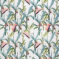 Декоративная ткань с голубыми растениями и розовыми фламинго на белом фоне