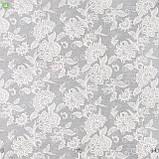 Декоративная ткань серого цвета с классическим цветочным орнаментом, фото 2