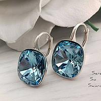 Серьги из серебра с камнями Сваровски бриллиантовой ювелирной огранки в небесно-голубом цвете