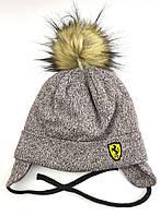 Дитяча шапка тепла 48 50 52 розмір зимові дитячі шапки на зав'язках зимова флісом помпоном, фото 1