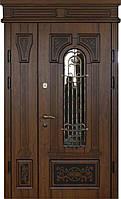 Двери уличные, PRESTIGE 1170*2050, модель 20-50, накладки 16 мм. 3D фрезеровка и патина с наружной стороны