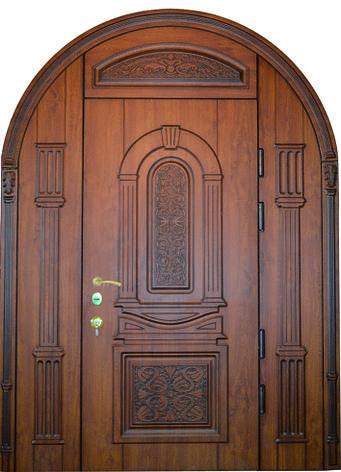 Двери уличные, модель 40 Элит 1600*2500, 3D фрезеровка, объемные элементы, патина, фрамуга, арочная, фото 2