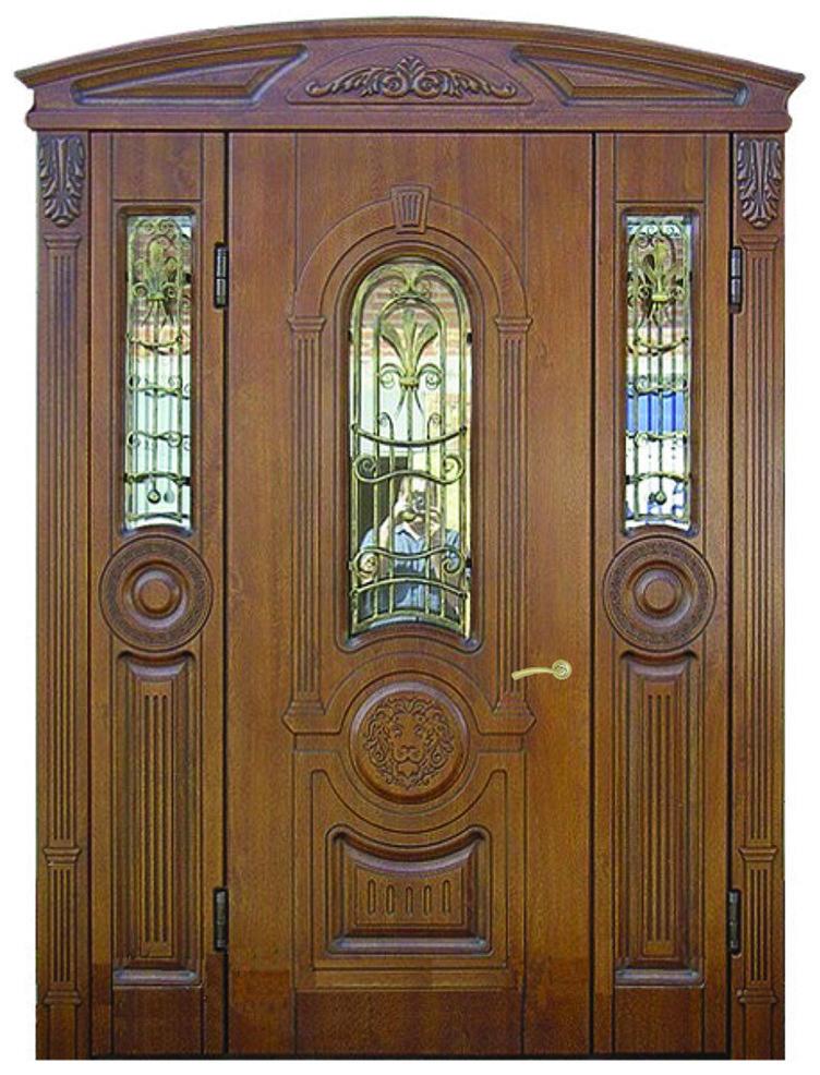 Двери уличные, модель 41 Элит, VINORIT, трехстворчатые, накладки 16 мм, Объемные элементы и патина