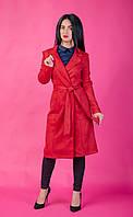 Красный  женский кардиган с карманами под пояс. Размер 44 - 50