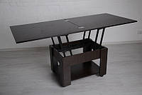 Стол трансформер 2 в 1 журнально-обеденный Тавол Диверс 80 см х 75 см х 48 см с полкой на роликах Венге