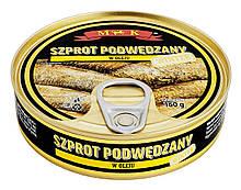 Шпроты в масле Szproty Podwedzany M&K Польша, 160 гр.