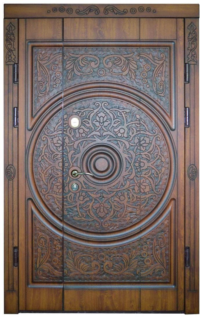 Двери уличные, модель 49 Стандар 1170*2050, металл 2мм, коробка 90мм, VINORIT, патина, художеств. фрезеровка