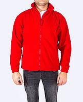 Флисовая кофта на молнии,  мужская, красный цвет, JHK (Испания) повседневная одежда, для спорта, XS - XXL