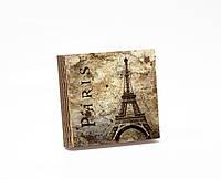 Шкатулка-книга на магните  slim с 4 отделениями Париж в стиле ретро