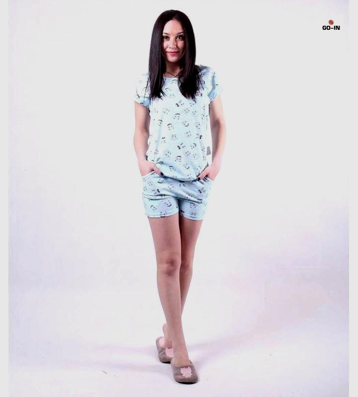 """Летняя женская пижама футболка с шортами хлопковая """"Смайл"""" р.42-54"""