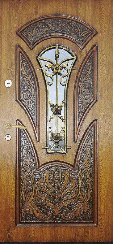 Двері вуличні, модель 56 Преміум, 970*2050, гнутий профіль, коробка110 мм, VINORIT, накладки по 16 мм, MOTTURА