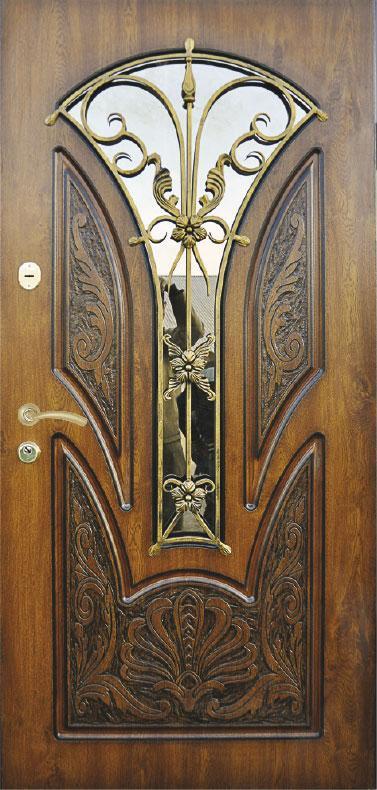 Двери уличные, модель 57 PRESTIGE,970х2050, ковка, стеклопакет, VINORIT, накладки 16 мм, замок KALE