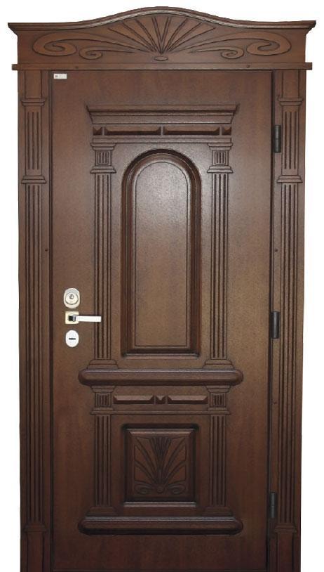 Двері вуличні, модель 61 Комфорт 970*2050, коробка 110 мм, VINORIT, замки KALE, 3D фрезерування і патина