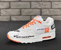 "Кроссовки мужские Nike Air Max 1 ""Just Do It"" реплика ААА+ (нат. кожа) р. 41-45 белый (живые фото), фото 1"