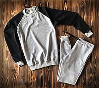 Спортивный костюм весенний серый комбо без принта