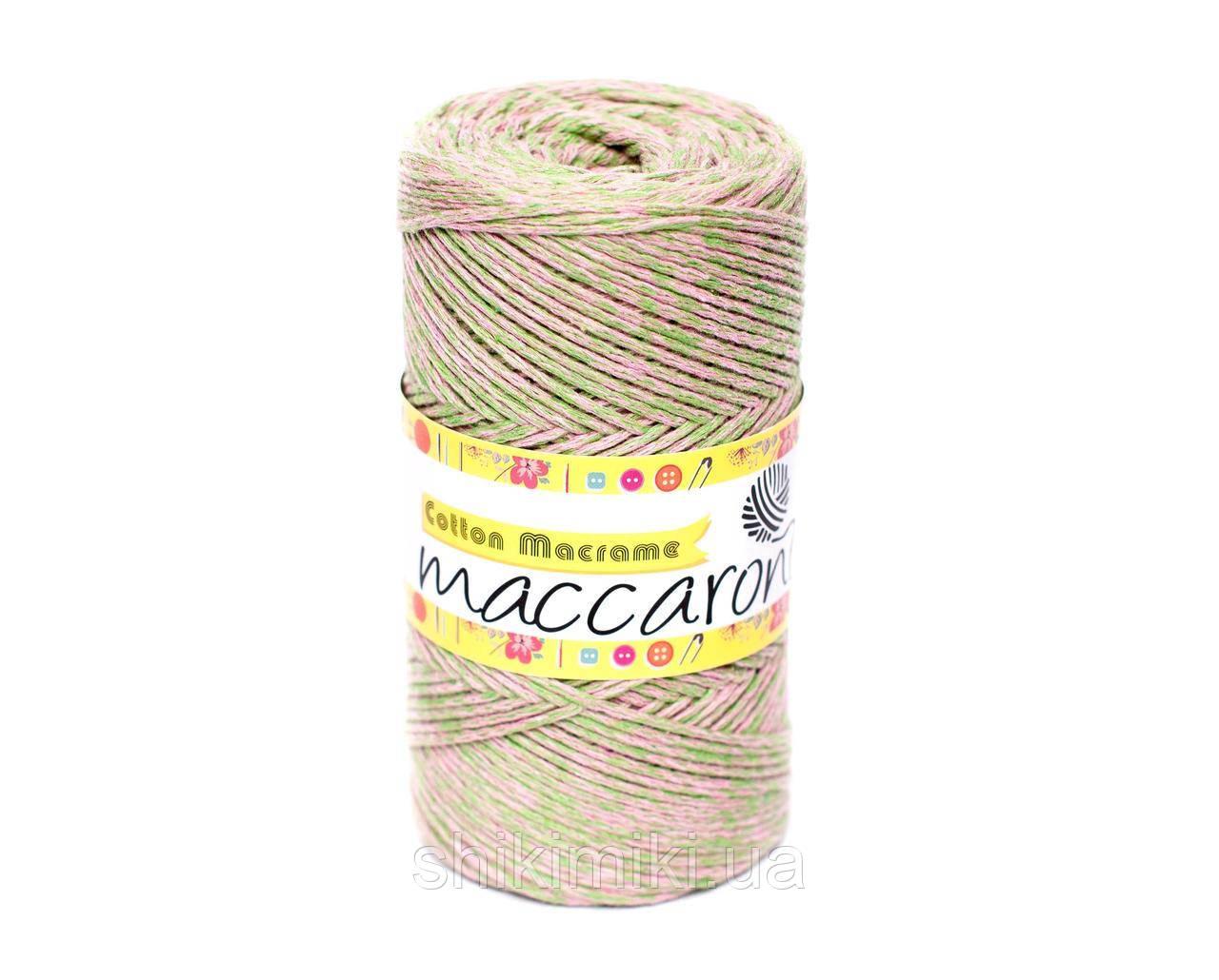 Эко Шнур Cotton Macrame, цвет Салатово-розовый