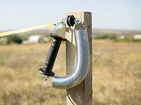 Тесьма для электропастуха и комплект для ворот электроизгороди - лента из синтетического материала с вплетённой стальной проволокой. Количество проводников: 4х контактная.
